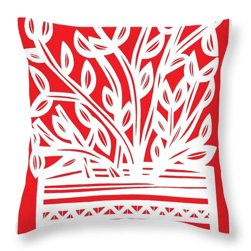 Red Throw Pillow featuring the drawing Kimbrell Plant Leaves Red White by Eddie Alfaro