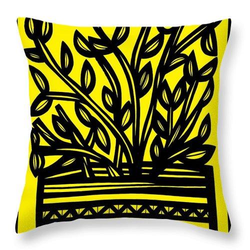 Yellow Throw Pillow featuring the drawing Heidecker Plant Leaves Yellow Black by Eddie Alfaro
