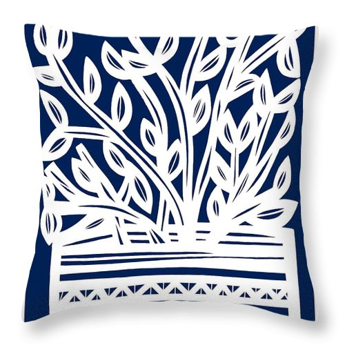 Blue Throw Pillow featuring the drawing Stearne Plant Leaves Blue White by Eddie Alfaro
