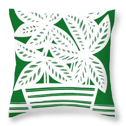 White Throw Pillow featuring the drawing Stole Plant Leaves Green White by Eddie Alfaro