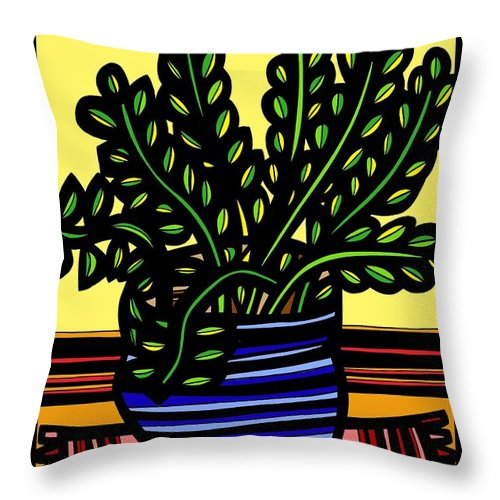 Yellow Throw Pillow featuring the drawing Rueck Plant Leaves Yellow Green Red by Eddie Alfaro