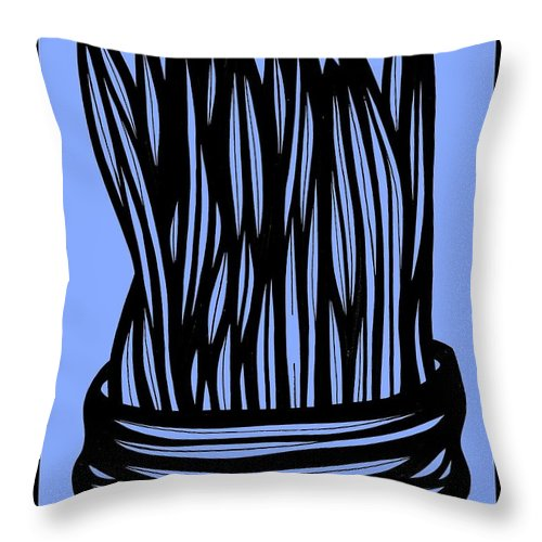 Blue Throw Pillow featuring the drawing Chidester Plant Leaves Blue Black by Eddie Alfaro