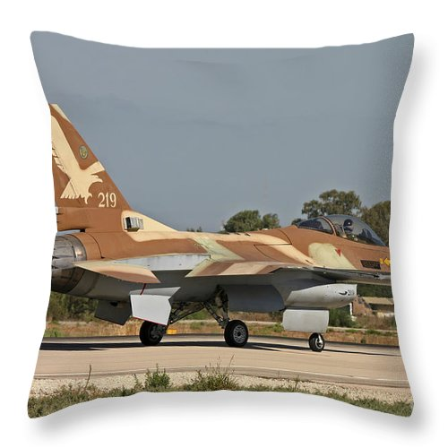 Transportation Throw Pillow featuring the photograph An F-16a Netz Of The Israeli Air Force by Ofer Zidon