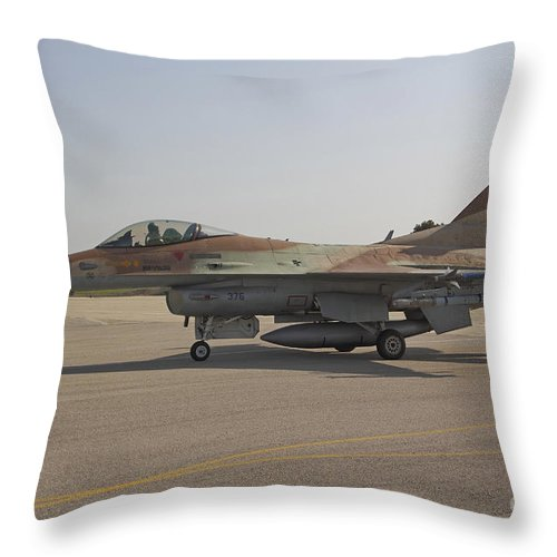 Transportation Throw Pillow featuring the photograph An F-16c Barak Of The Israeli Air Force by Ofer Zidon