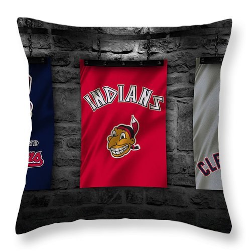Indians Throw Pillow featuring the photograph Cleveland Indians by Joe Hamilton
