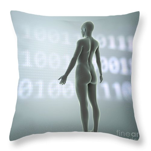 3d Visualisation Throw Pillow featuring the photograph Digital Being by Science Picture Co