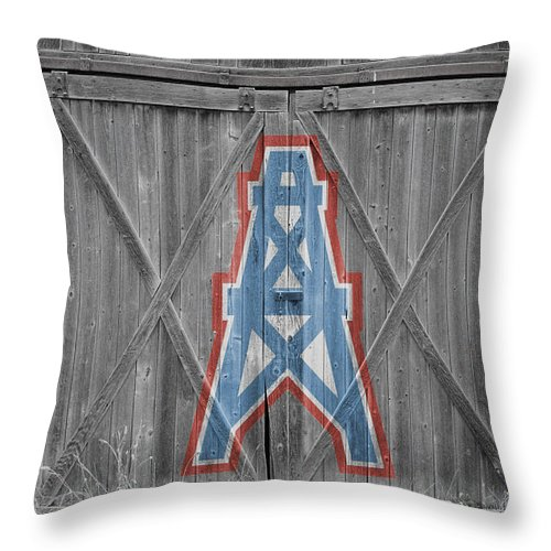 Oilers Throw Pillow featuring the photograph Houston Oilers by Joe Hamilton