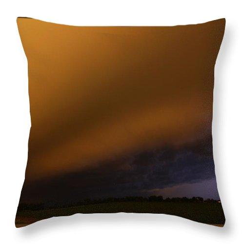Stormscape Throw Pillow featuring the photograph Late Night Nebraska Shelf Cloud by NebraskaSC