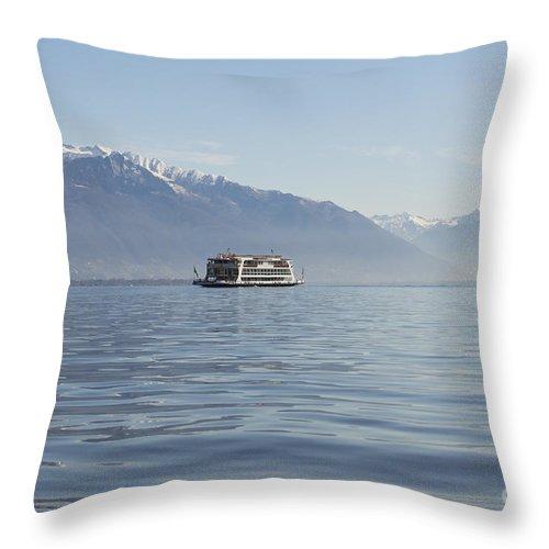 Passenger Ship Throw Pillow featuring the photograph Passenger Ship On An Alpine Lake by Mats Silvan