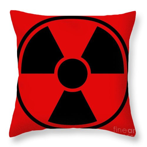 Sign Throw Pillow featuring the digital art Radiation Warning Sign by Henrik Lehnerer