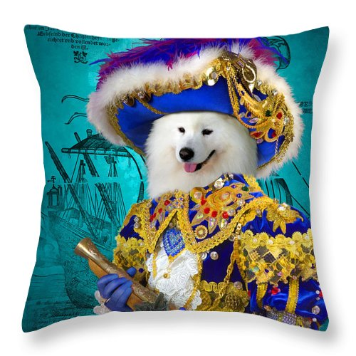 Samoyed Art Throw Pillow featuring the painting Samoyed Art Canvas Print by Sandra Sij