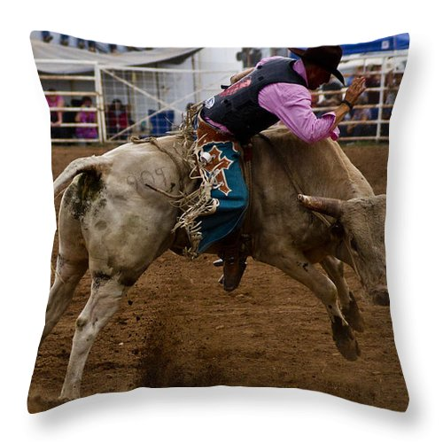 Rodeo Throw Pillow featuring the photograph 8 Seconds In Sonoita by Patrick Moore