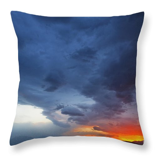 Clouds Throw Pillow featuring the photograph Stormclouds And Sunset Above Mountains At Toktogul In Kyrgyzstan by Robert Preston