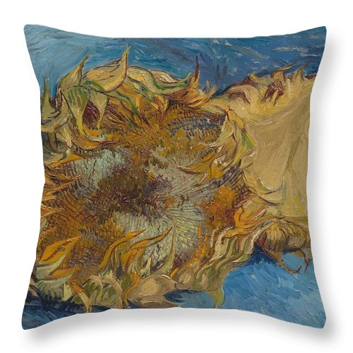 1887 Throw Pillow featuring the painting Sunflowers by Vincent van Gogh
