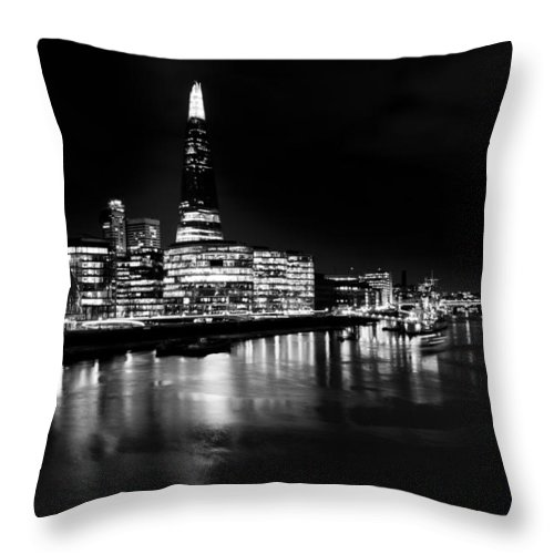 Shard Throw Pillow featuring the photograph The Shard And Southbank London by David Pyatt