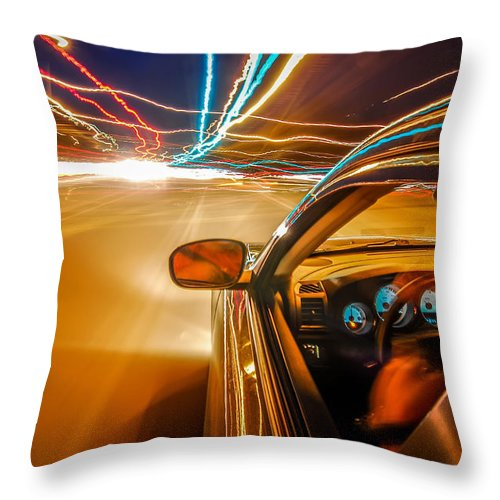 Abstract Throw Pillow featuring the photograph Traveling At Speed Of Light by Alex Grichenko