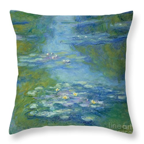 French Throw Pillow featuring the painting Waterlilies by Claude Monet