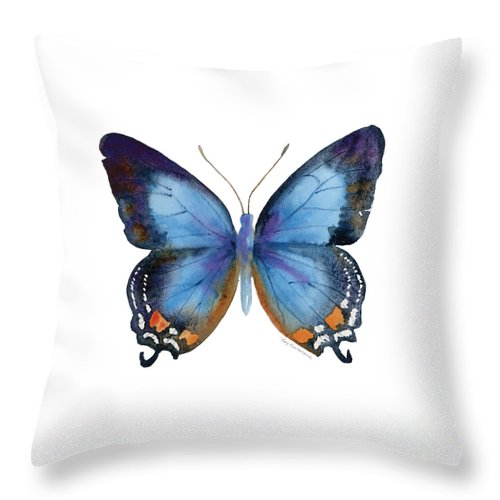 Imperial Blue Butterfly Throw Pillow featuring the painting 80 Imperial Blue Butterfly by Amy Kirkpatrick