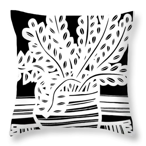 Black And White Throw Pillow featuring the drawing Schwiebert Plant Leaves Black And White by Eddie Alfaro
