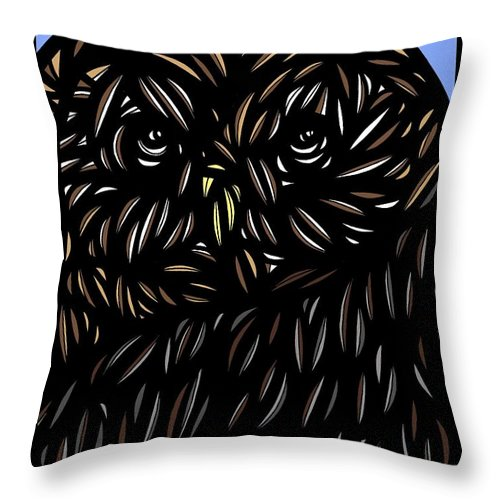 Brown Throw Pillow featuring the drawing Kirtner Owl Red Brown White by Eddie Alfaro
