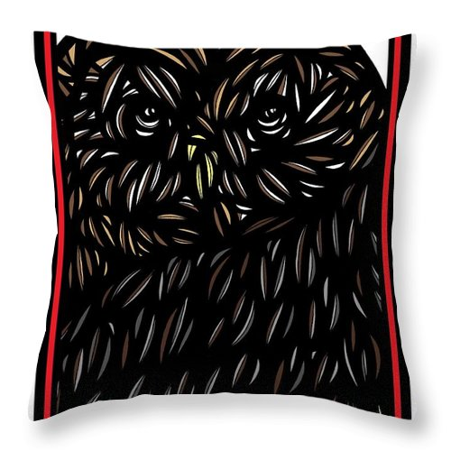 Brown Throw Pillow featuring the drawing Pettry Owl Blue Brown White by Eddie Alfaro