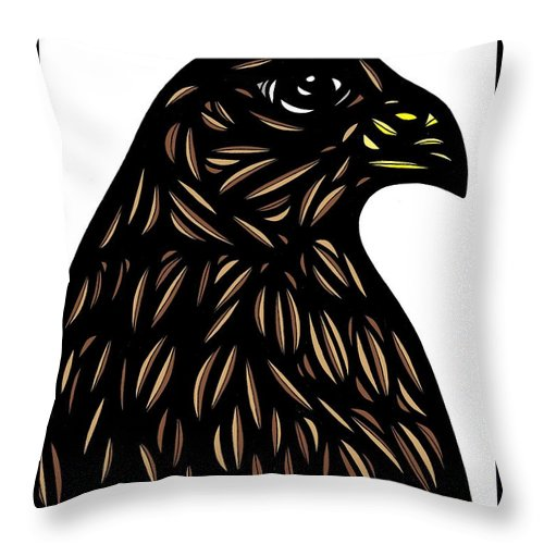 Brown Throw Pillow featuring the drawing Labore Eagle Hawk Brown White by Eddie Alfaro