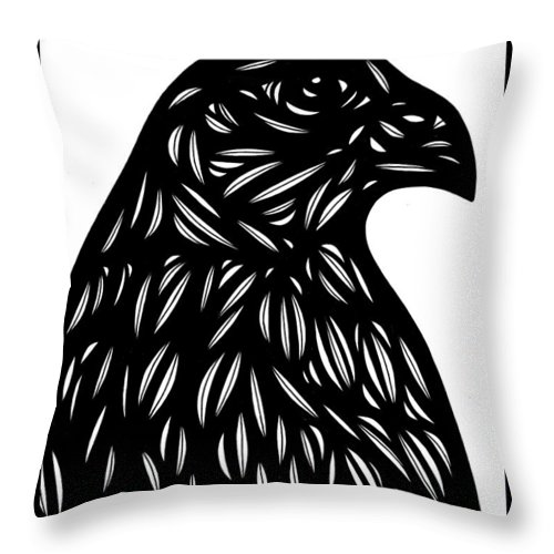Black And White Throw Pillow featuring the drawing Bruh Eagle Hawk Black And White by Eddie Alfaro