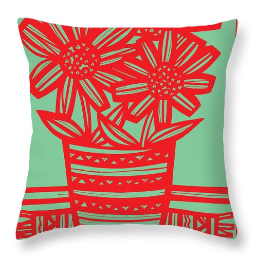 Black Throw Pillow featuring the drawing Worship Excelsior Flowers Red Green Blue by Eddie Alfaro