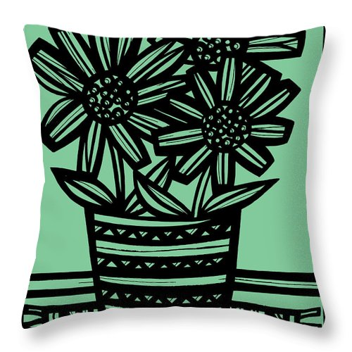 Black Throw Pillow featuring the drawing Evocative Flowers Red Blue Green by Eddie Alfaro