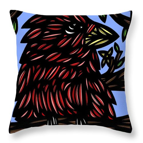 Brown Throw Pillow featuring the drawing Batra Bird Brown Black Green Blue by Eddie Alfaro