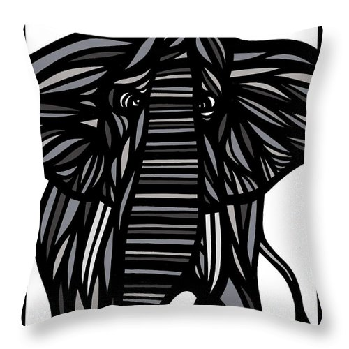 Grey Throw Pillow featuring the drawing Batra Elephant Grey Black White by Eddie Alfaro