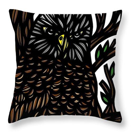 Green Throw Pillow featuring the drawing Mitzner Eagle Hawk Green Black Brown by Eddie Alfaro
