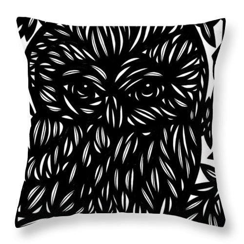 Red Throw Pillow featuring the drawing Sandvig Flowers Red White by Eddie Alfaro