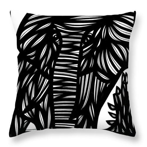 Black And White Throw Pillow featuring the drawing Cubr Elephant Black And White by Eddie Alfaro
