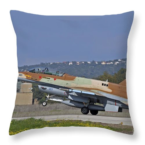 Transportation Throw Pillow featuring the photograph An F-16d Barak Of The Israeli Air Force by Ofer Zidon