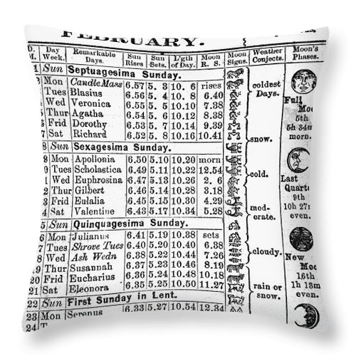 1874 Throw Pillow featuring the photograph Family Almanac, 1874 by Granger