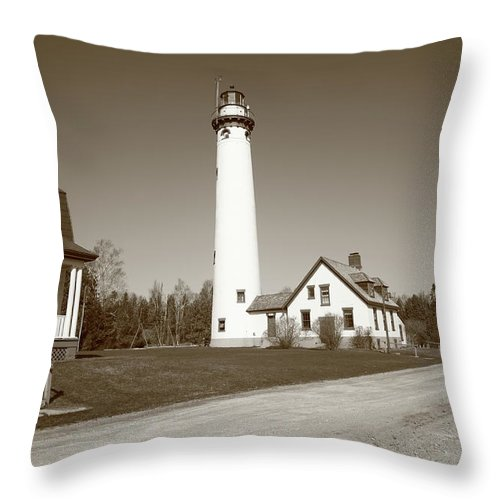 America Throw Pillow featuring the photograph Lighthouse - Presque Isle Michigan by Frank Romeo