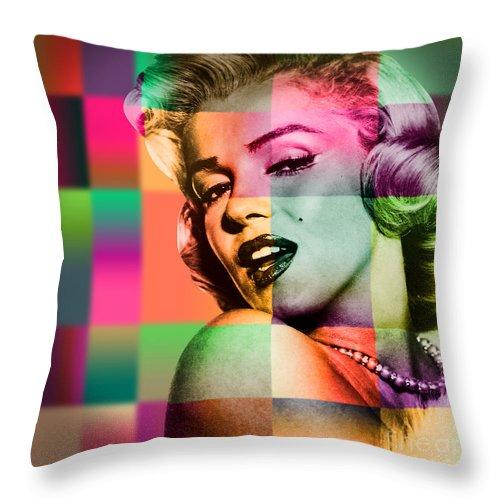 Pop Art Throw Pillow featuring the digital art Marilyn Monroe by Mark Ashkenazi
