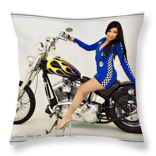 Models & Motorcycles Throw Pillow featuring the photograph Models And Motorcycles by Walter Herrit