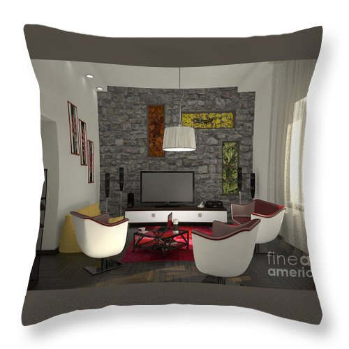 Yakubovich Throw Pillow featuring the painting My Art In The Interior Decoration - Elena Yakubovich by Elena Yakubovich