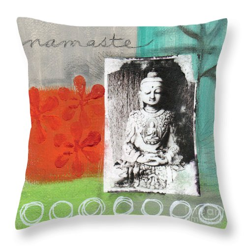 Buddha Throw Pillow featuring the painting Namaste by Linda Woods