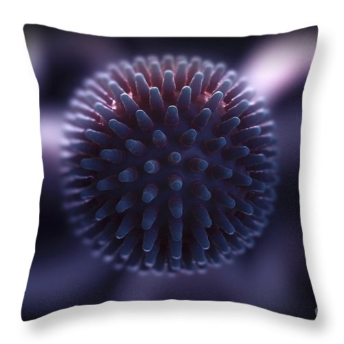 3d Visualisation Throw Pillow featuring the photograph Swine Influenza Virus H1n1 by Science Picture Co