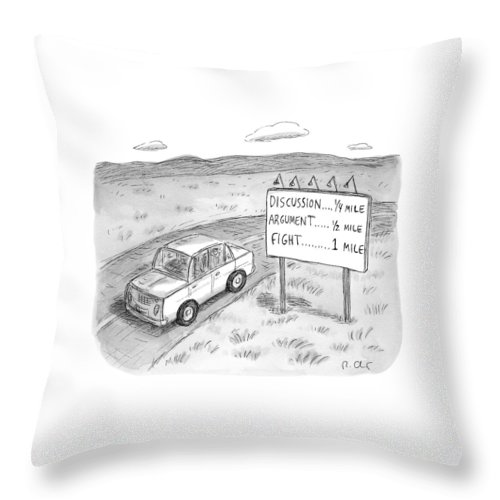 Argument Throw Pillow featuring the drawing New Yorker August 1st, 2016 by Roz Chast