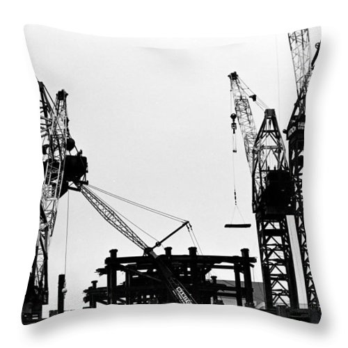 96 kangaroo crane moving up throw pillow for sale by william haggart