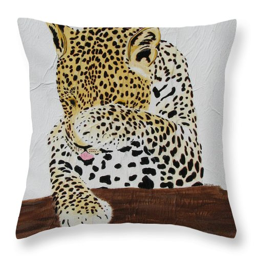 Leopard Throw Pillow featuring the painting 97.. 95..99....100 Ready Or Not by Stephanie Grant