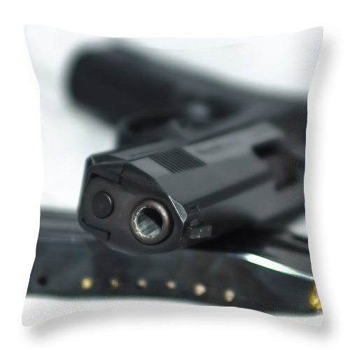 9mm Throw Pillow featuring the photograph 9mm Gun And Ammo by Alex Grichenko