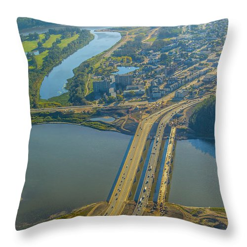 Fort Mcmurray Stock Throw Pillow featuring the photograph Fort Mcmurray From The Sky by Alanna DPhoto