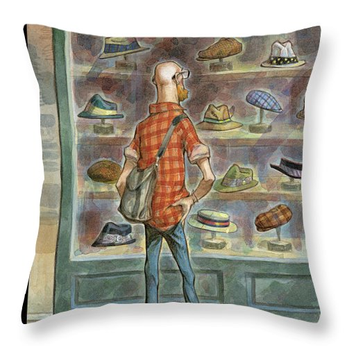 Top Choice Throw Pillow featuring the painting Top Choice by Peter de Seve
