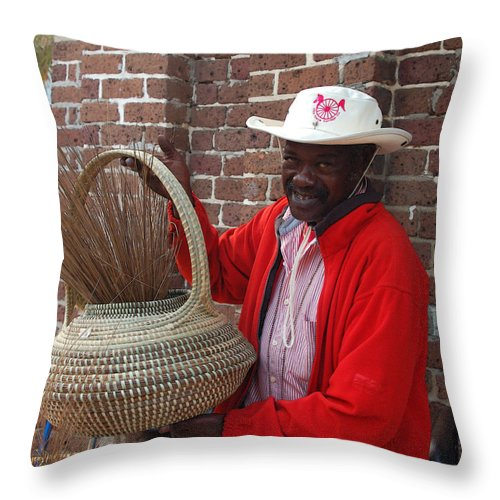 African American Throw Pillow featuring the photograph A Basket Case by Suzanne Gaff