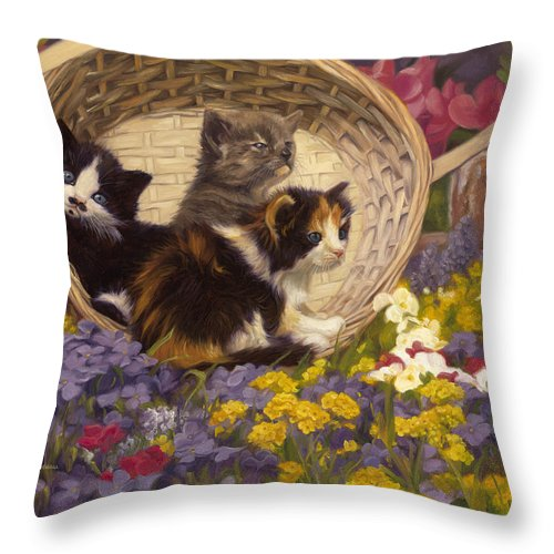 Cat Throw Pillow featuring the painting A Basket Of Cuteness by Lucie Bilodeau